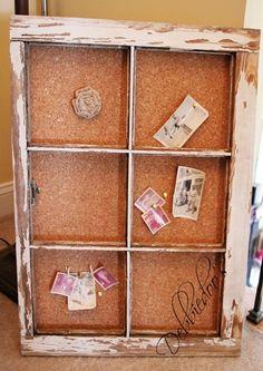 old chippy window turned bulletin board