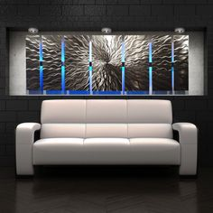 """Cosmic Energy"" Large 68""x24"" Abstract Metal Wall Art with LED Infused - DV8 Studio"