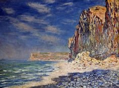 Cliffs near Fécamp by Claude Monet in oil on canvas, done in Now in a private collection. Find a fine art print of this Claude Monet painting. Monet Paintings, Impressionist Paintings, Landscape Paintings, Canvas Paintings, Claude Monet, Pierre Auguste Renoir, Edouard Manet, Gustav Klimt, Artist Monet