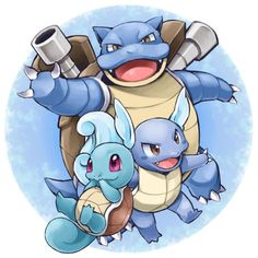 Squirtle, Wartortle, Blastoise (my first Pokemon from Blue/Red) This is my OG! Pokemon Go, Flareon Pokemon, Pokemon Pins, Bulbasaur, Charizard, Pokemon Tattoo, Pokemon Starters, Bd Comics, Pokemon Pictures