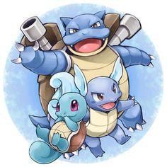 Squirtle, Wartortle, Blastoise / evolution / starter Pokemon / original Pokemon / Pokemon Red