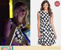 Felicity's black and white polka dot dress on Arrow.  Outfit Details: http://wornontv.net/38864/ #Arrow