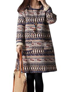 Thick Bohemia Ethnic Geometry Printed Cotton Long Sleeve Loose Women Dress Online - NewChic