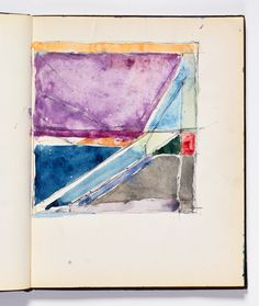 Diebenkorn, Watercolor with pen and ink, Page 131 from Sketchbook # 18 [baby Ocean Park; page is creased]