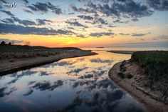 AuTrain river sunset, Lake Superior in Upper Michigan