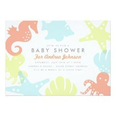 Pastel Sea Creatures Baby Boy or Girl Baby Shower Invitation