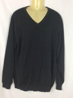 LL Bean Mens XXL Tall Black  Sweater V-Neck Cotton Cotton Blend Madagascar #LLBean #VNeck