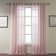 "Leyden Grommet Top Classic Solid Pink Cotton Sheer Curtain Drapes Multi Size Available Customize (One Panel) 84Wx102""L"