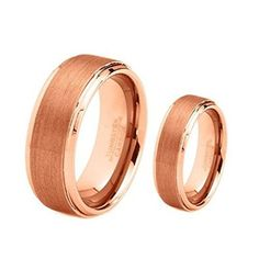 His  Hers 8MM6MM Rose Gold Brushed Center Step Edge Tungsten Carbide Wedding Band Ring Set >>> Click image to review more details.(This is an Amazon affiliate link and I receive a commission for the sales)