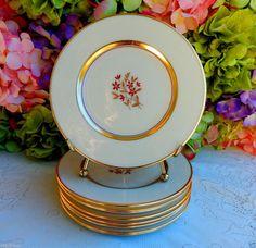 9 Beautiful Vintage Lenox Porcelain Side Plates ~ Nydia ~ Gold ~ Floral #Lenox