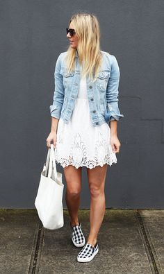 love the jean jacket with the white eyelet dress and the sneakers. i have the jacket and I bought a similar white skirt.