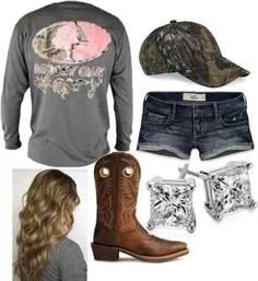 Mossy oak and camo hat with diamond earrings and cowgirl boots cute country outfits, country Camo Outfits, Cowgirl Outfits, Fishing Outfits, Cowgirl Boots, Gypsy Cowgirl, Cowgirl Fashion, Cowgirl Clothing, Redneck Outfits, Camo Boots