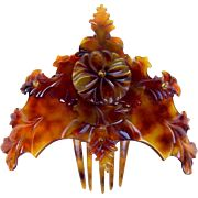 Victorian hinged dyed horn hair comb