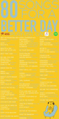 80 Songs For A Better Day You can hear it from a lot of people and from scientific research, that listening to music can increase an individual's mood instantly. Music Lyrics, Music Quotes, Music Songs, My Music, Music Mood, Mood Songs, Listening To Music, Uplifting Songs, Upbeat Songs