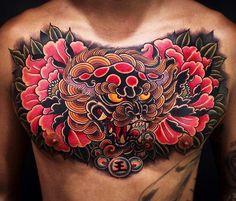 Japanese chest tattoo by @jin_qchoi. #japaneseink #japanesetattoo #irezumi #tebori #colortattoo #colorfultattoo #cooltattoo #largetattoo #chesttattoo #foodog #foodogtattoo #flowertattoo #peonytattoo #newschool #newschooltattoo #blackwork #blackink #blacktattoo #wavetattoo #naturetattoo