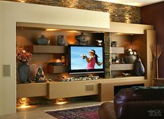 "entertainment/art/display unit with stone and ""adobe"""