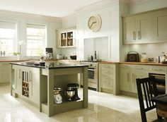 Borrowdale - Solid and Veneer Kitchens - Benchmarx Kitchens and Joinery / green and white