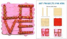 Folk Art Love Letters. PDF tutorial available. #artprojectsforkids #valentine