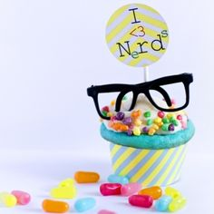 Cutest neon and nerdy birthday party kit - signs, games, printables, invitations, etc nerd glasses, back to school, end of school, chemistry party www.happyonfettidesign.com