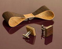 Men's Gift Set – Wooden Cufflinks & Bow Tie