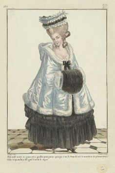 "Gallerie des Modes, ""Polonaise noir ou petit robe…"" Outerwear and a super cute muff! Rococo Fashion, French Fashion, Vintage Fashion, Women's Fashion, Costume Français, Mourning Dress, 18th Century Fashion, Fashion Design Sketches, Thing 1"