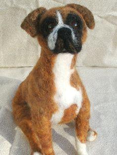 Custom Needle Felted Dog Portrait, Needle Felted Dog Sculpture.