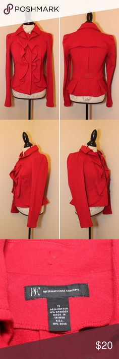 "INC Red Ruffle Jacket Ruffles are back, ladies! Stay on trend with this super cute jacket by INC. Excellent condition!   Length: 21"" Bust: 17"" Sleeve: 26""  96% Cotton  4% Spandex.   Make me an offer or bundle and save 20% off two or more items! INC International Concepts Jackets & Coats"