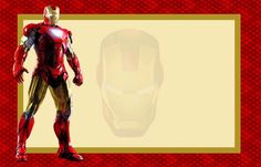 Iron Man Free Printable Invitations, Cards or Photo Frames.