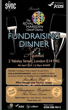 LeBern invite you to join us on April 4th 6:30pm 2 Yabsley Street, London E14 9RG for a Fundraising Dinner and enjoy a delicious hors d'oeuvres, wine, and a night filled with fun and entertainment in support of the Royal Marsden Call 020 8088 9012 to book your ticket