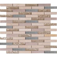 MS International Vienna Blend 12 In. X 12 In. X 8 Mm Glass Metal Stone  Mesh Mounted Mosaic Tile, Beige