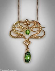 An Edwardian Era Demantoid Garnet And Rose Cut Diamond Pendant / Brooch made in Russia between 1908 and 1917 width 35 mm in.) height 42 mm in. Bijoux Art Nouveau, Art Nouveau Jewelry, Jewelry Art, Fine Jewelry, Jewellery, Edwardian Jewelry, Antique Jewelry, Vintage Jewelry, Edwardian Era