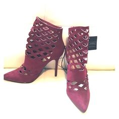 "Burgundy express cage booties Never worn super cute cage booties. Bought on sale, selling for less than sale price. Perfect condition, faux suede , 4"" skinny stiletto heel. No trades, no pp, make me an offer Express Shoes Heels"