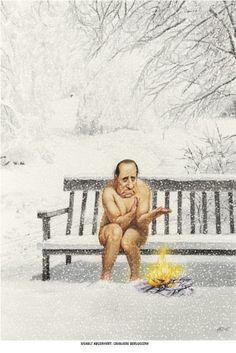 """Haderer-Karikatur vom 7. Dezember 2013: """"Eiskalt abserviert: Cavaliere Berlusconi"""" (Bild: Haderer)"""