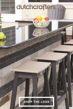Poly furniture is made from 100% recycled milk jugs, representing a sustainable choice that fits perfectly in the great outdoors. You can feel good about minimizing your effect on nature while enjoying these bar stools with friends and family. Choose from our wide range of colors for a look that best suits your home. We love the two-tone look as pictured but can see these bar stools looking great in a variety of shades. Saddle Bar Stools, Outdoor Island, Grill Area, Island Bar, Milk Jugs, Outdoor Dining Furniture, Cool Suits, Outdoor Gardens, Outdoors