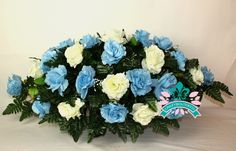 XL Beautiful Baby Blue and White Roses Cemetery Tombstone Saddle by Crazyboutdeco on Etsy