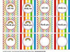 Free rainbow party printables to print and use at your next rainbow party. For personal use only. Thomas The Train Birthday Party, My Little Pony Birthday Party, Rainbow Birthday Party, Rainbow Theme, Pig Birthday, Rainbow Parties, Party Printables, Free Printables, Candy Party