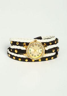 Studded Wrap Watch, WHITE/BLACK, large