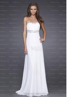 Empire Strapless Beading Chiffon Floor-length Evening Dress at Millybridal.com