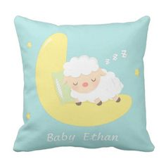 Cute Sleeping Child Lamb Youngsters Nursery Room Decor Throw Pillow. ** Learn even more at the picture link