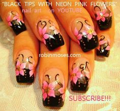 Black tips with neon pink flowers. Nail-art by Robin Moses