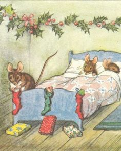 Christmas mice ...the stockings were hung on the bedposts with care ...