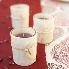 Cornhusk-Wrapped Votives from the Mexican food aisle :)