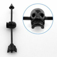 Looking for Industrial Scaffold Bars? Don't Miss this Black Skull Barbell! Give your Ear some serious Biker Cred! Second Piercing, Industrial Piercing, Black Skulls, Scaffolding, Body Jewellery, Skull Design, Barbell, Ear Piercings, Arrow