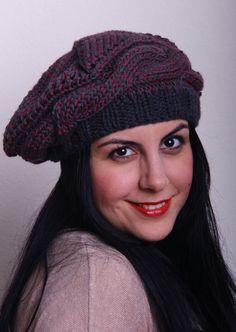Dark Knitting Hat Womens Winter Hat Handmade Hat by duduhandmade