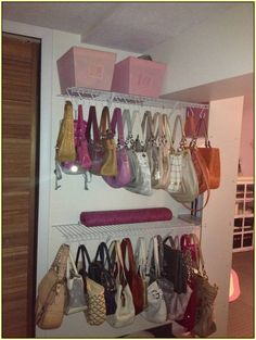 Purse Storage Ideas Organizestoragespace Saving Purse Storage for Closet Storage Ideas For Purses. Organizing Purses In Closet, Toddler Closet Organization, Closet Storage, Home Organization, Closet Ideas, Organize Purses, Organizing Tips, Storage For Purses, Handbag Storage
