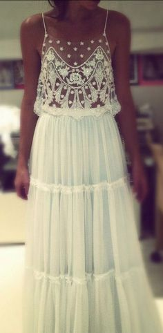 Boho wedding dress ... I don't love it for a wedding dress but for a formal party or maybe the reception ?