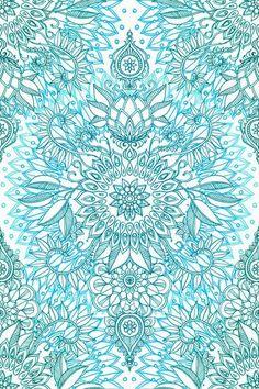 Turquoise Blue, Teal & White Protea Doodle Pattern Art Print by micklyn Blue Wallpapers, Wallpaper Backgrounds, Iphone Wallpaper, Wallpaper Iphone Tumblr Boho, Mandalas Drawing, Mandala Art, Doodle Patterns, Print Patterns, Favim
