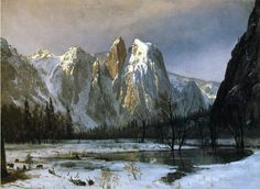 Excellent Hand Painted landscape painting Cathedral Rock, Yosemite Valley, California by Albert Bierstadt for living room wall art or gift Albert Bierstadt Paintings, Carl Spitzweg, Hudson River School, Yosemite Valley, Oil Painting Reproductions, Painting Edges, Stretched Canvas Prints, Landscape Paintings, Places
