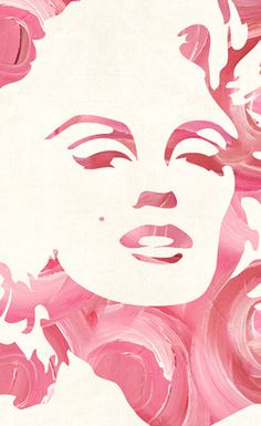 Pink Marilyn Monroe graphic art with rose effect