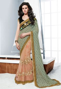 Buy Moss Green and Peach Net Saree with Blouse online, work: Embroidered, color: Green / Peach, usage: Party, category: Sarees, fabric: Net, price: $113.30, item code: SWS4778, gender: women, brand: Utsav